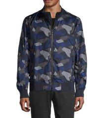 bogner men's camo-print stand-collar jacket - blue - size 40