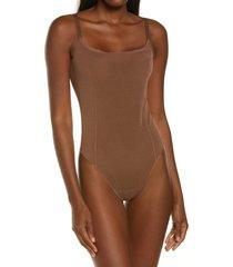 women's skims power mesh sculpting bodysuit, size x-large - brown