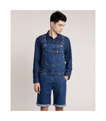 macacão curto jeans masculino azul escuro