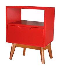 mesa de cabeceira on vermelha base madeira pinhao - 57190 57190