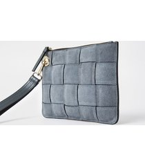 river island womens grey suede weave clutch handbag