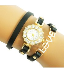 reloj pulsera negro love re-25904