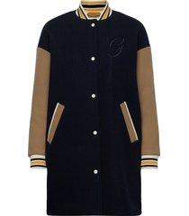 d1. long varsity coat wollen jas lange jas blauw gant