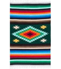 native yoga super diamond mexican blanket green cotton