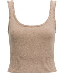 federica tosi beige cashmere and wool tank top