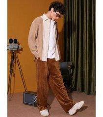 pantalones casuales sueltos lisos de pana para hombre