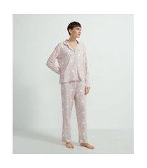 pijama americano blusa manga longa e calça estampa corações | lov | rosa | p