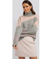 na-kd trend split colour chunky polo sweater - grey