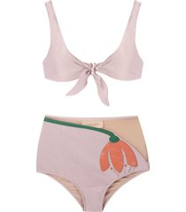 adriana degreas tulipa hot pants bikini set - purple