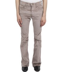 amiri beige velour flare stack trousers