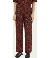 scotch & soda printed mid-rise trousers