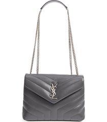 saint laurent small loulou matelasse leather shoulder bag - black