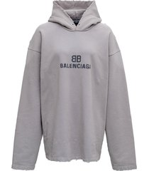 balenciaga pixel hoodie in grey jersey