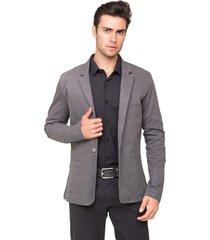 blazer masculino tony menswear slim fit de sarja cinza - kanui