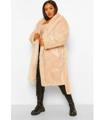 plus luxe faux fur jas met grote kraag en ceintuur, oatmeal