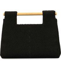 chanel pre-owned 1998 metal handles crochet tote - black