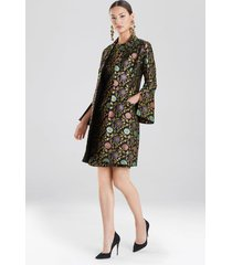 ornate floral jacket dress, women's, black, cotton, size 8, josie natori
