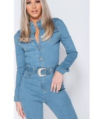 parisian western belt detail long sleeve denim jumpsuit wit