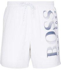 boss octopus logo-print swim shorts - white
