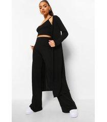 geribbelde bralette, duster jas en wide leg broek, black