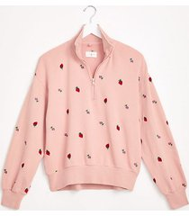 lou & grey strawberry terry zip sweatshirt
