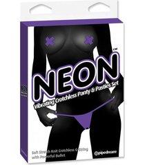 panty con vibracion y cubre pezones neon purpura