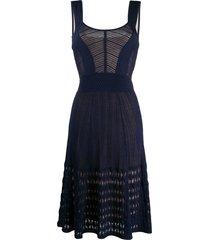 temperley london mirabilis fine-knit a-line midi dress - blue