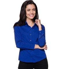 camisa intens manga longa tricoline azul