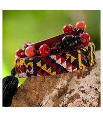 leather and cotton wrap bracelet, 'festive guatemala' (guatemala)