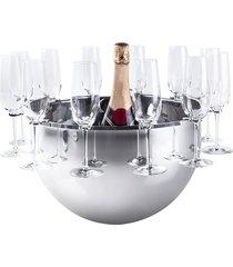 champanheira bottega prata com suporte para 12 taças - riva