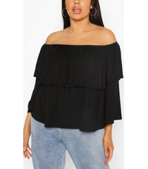 plus jersey off shoulder ruffle top, black