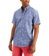 club room chambray floral-print shirt, created for macy's