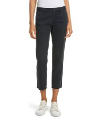 women's nili lotan east hampton stretch cotton twill crop pants, size 6 - blue