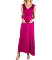 24seven comfort apparel v neck sleeveless maternity maxi dress with belt