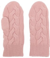 n.peal cable-knit cashmere mittens - pink
