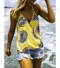 abrigo amarillo diseño tropical deep v cuello cami