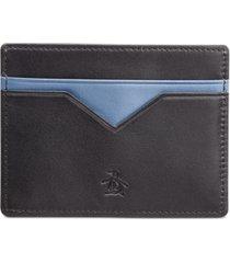 penguin men's colorblocked leather card case