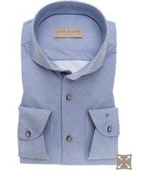overhemd john miller blauw gemeleerd tailored fit