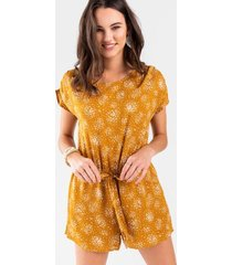 belinda printed front tie romper - mustard