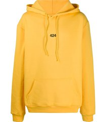 424 embroidered logo hoodie - yellow
