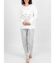 pyjama's / nachthemden admas homewear pyjamabroek hallo winter ivoor