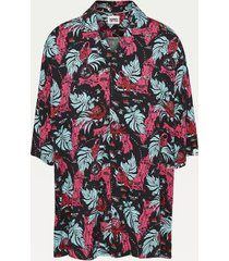 tommy hilfiger men's big and tall tropical print shirt black miami - 5xl