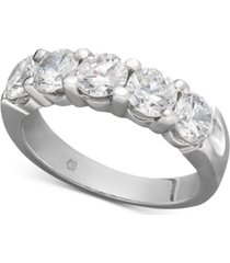 certified five diamond station band ring in 14k white gold (2 ct. t.w.)