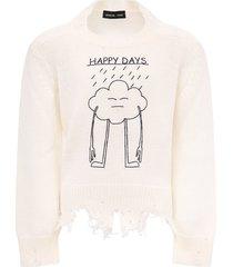 riccardo comi white happy day sweater