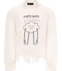 riccardo comi white happy day sweater for kids