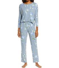 women's flora nikrooz kathy floral pajamas, size x-small - grey