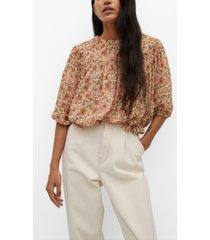 mango textured printed blouse