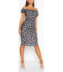 bloemenprint melkmeisjes stijl mini jurk, black