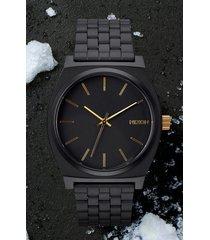men's nixon 'the time teller' stainless steel bracelet watch, 37mm
