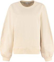 ganni software cotton crew-neck sweatshirt